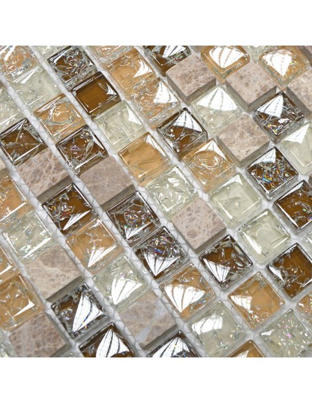 Mosaik Kristall Natursten Mix Emperador Ljus | Ekosten.se