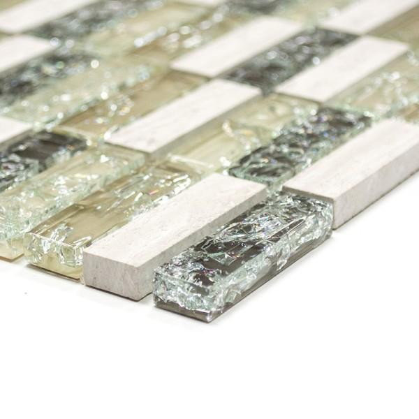 Grå Grön Brickmosaik Kristall Natursten Mix | Ekosten.se