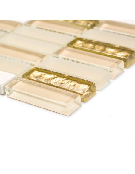 Brickmosaik Natursten Kristall Mix Vit Guld Matt | Ekosten.se