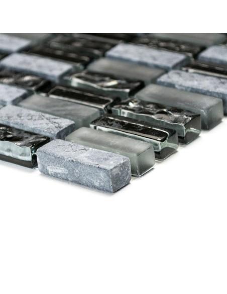 Brickmosaik Natursten Kristall Mix Grå Svart Matt | Ekosten.se
