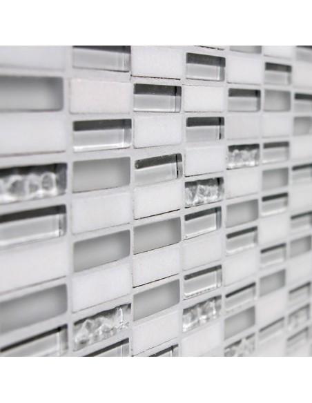 Brick Mosaik Kristall Natursten Vit Mix | Ekosten.se