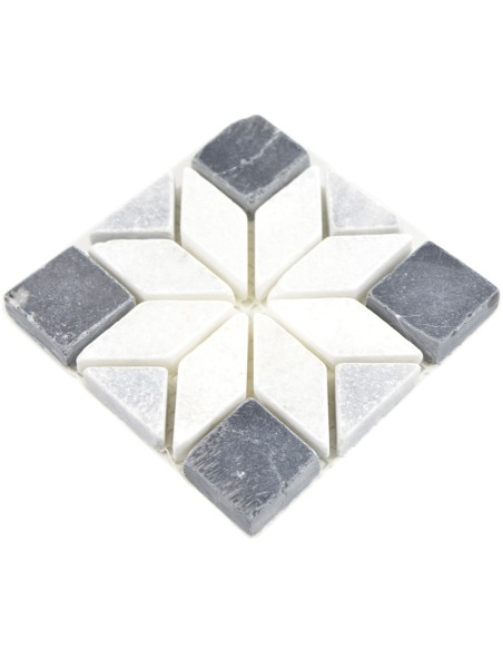 Natursten Marmor Dekor Star Vit Svart Grå 10x10   Ekosten.se