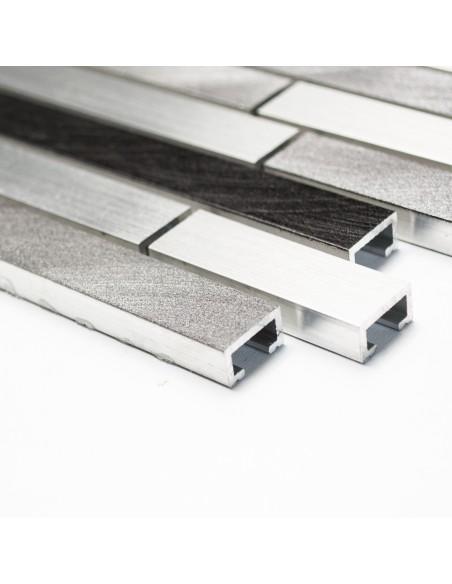 Metall Stavmosaik Aluminium Grå Svart Mix