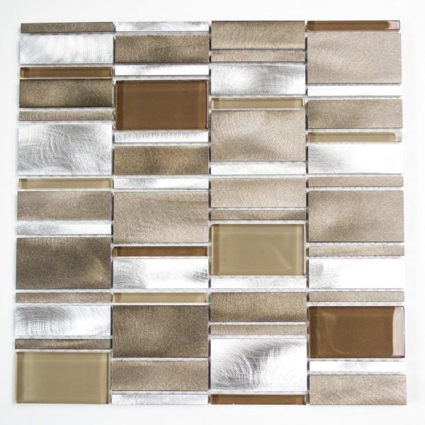 Mosaikmix Aluminium Kristall Beige Brun