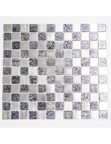 Kristall Metall Svart Silver Mosaik 25x25x4mm   Ekosten.se