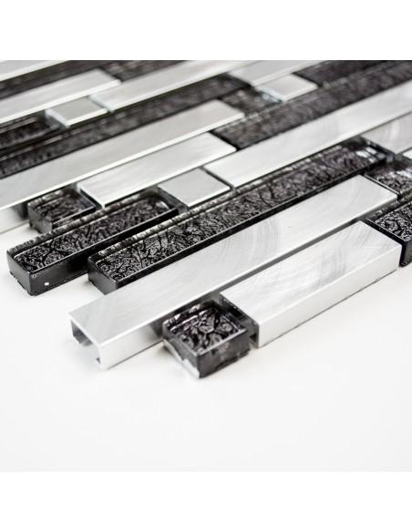 Interlock Mosaik Kristall Aluminium Mix Svart Silver