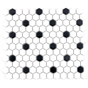 Hexagon Kakel Mosaik Mix Vit Matt Dot