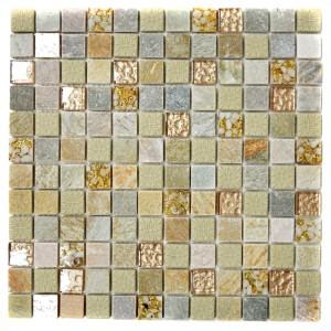 Mosaik Kristall Natursten Guld Beige Mix