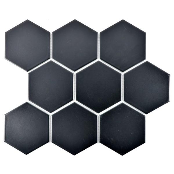 Hexagon Klinker Mosaik  Svart Matt   Ekosten.se
