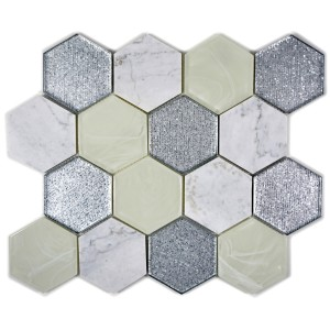 Hexagon Mosaik Kristall Natursten Grå Silver Mix