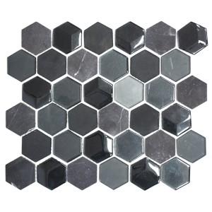 Hexagon Mosaik Kristall Natursten Mix 3D Svart