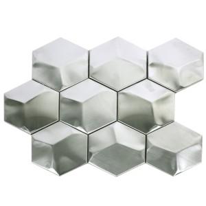 Silver Hexagon Mosaik 3D Rostfrittstål Matt