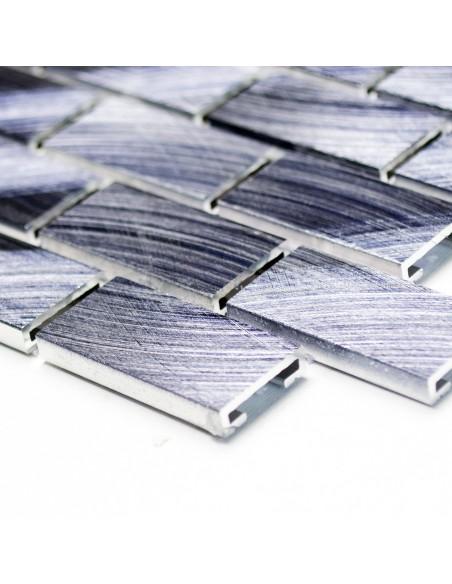 Svart Metall Mosaik Aluminium Borstad