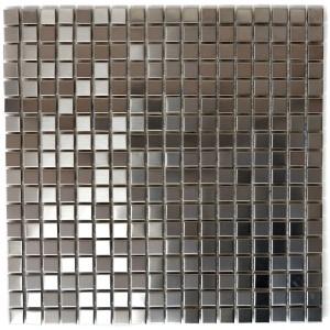 Silver Rostfrittstål Mosaik Borstad 15x15mm