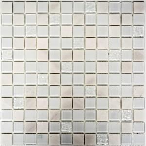 Självhäftande Vit Mosaik Glas Marmor 23x23x5mm