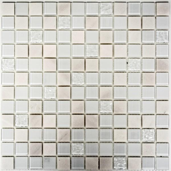 Självhäftande Vit Mosaik Glas Marmor 23x23x5mm | Ekosten.se