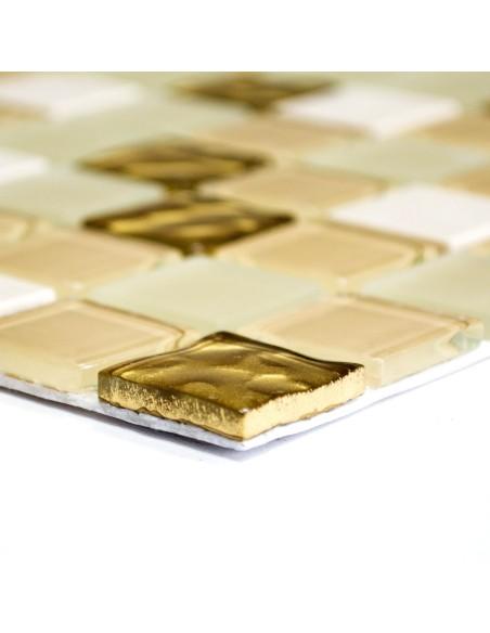 Självhäftande Mosaik Guld Vit Mix