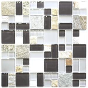 Kristall Natursten Mosaik Grå Brun Mix
