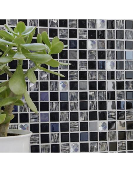 Självhäftande Kristall Silver Svart Mosaik