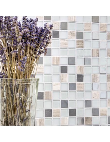 Självhäftande Kristall Rostfrittstål Natursten Mosaik