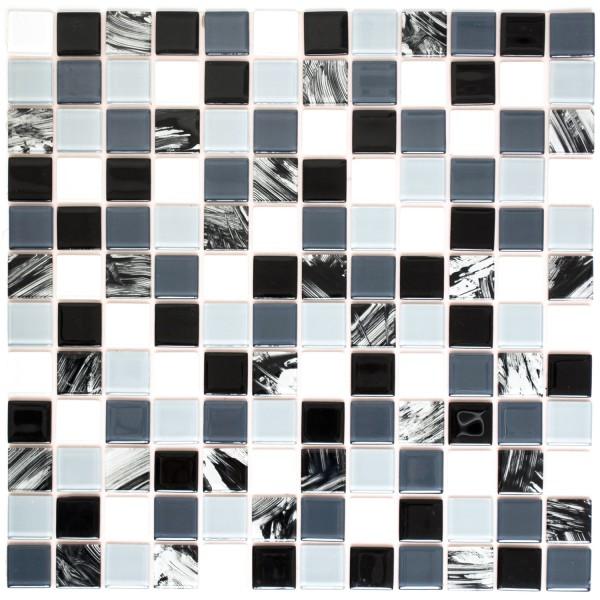 Kristall Självhäftande Mosaik Grå Svart Vit Mix