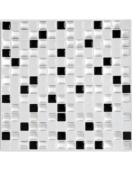Självhäftande Vinyl Mosaik Silver Svart Vit Mix