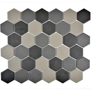 Hexagonmix Klinkermosaik Matt