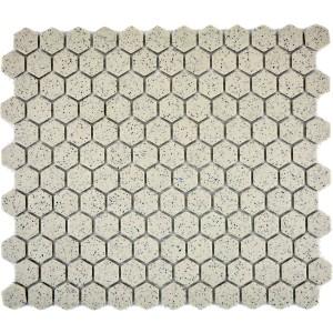 Hexagon Mosaik Beige Prickig Matt