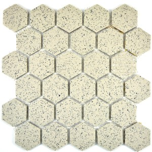 Hexagon Klinker Mosaik Beige Prickig Matt