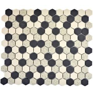 Hexagon Mosaik Svart Beige Mix