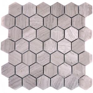 Hexagon Grå Marmor Naturstenmosaik