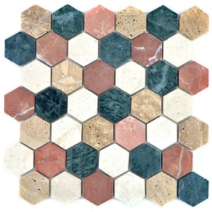 Hexagon Naturstenmosaik Mix Random