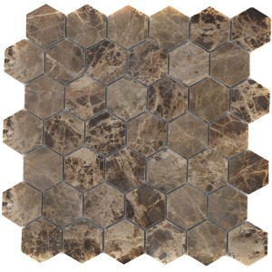 Hexagon Mosaik Impala Brun Polerad