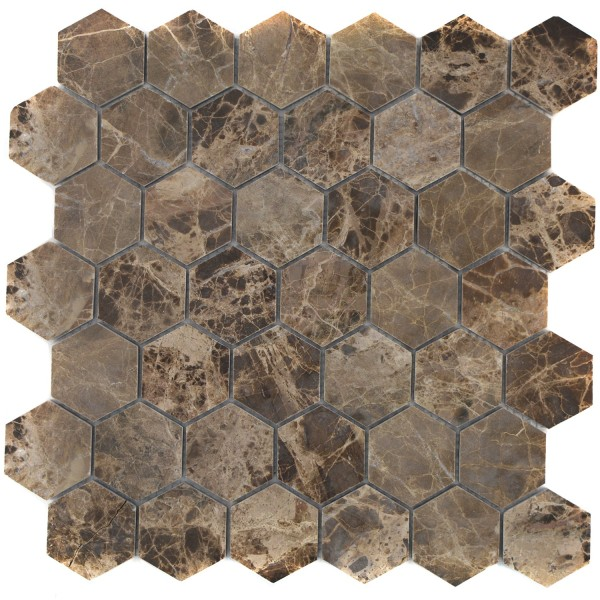 Hexagon Mosaik Impala Brun Polerad   Ekosten.se