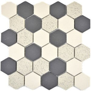 Hexagon Klinkermosaik Beige Svart