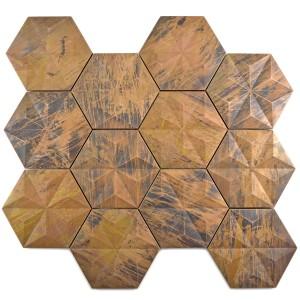 3D Hexagon Koppar Mosaik