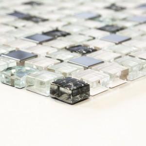 Vit Kristall Rostfrittstål Diamant Mosaikmix
