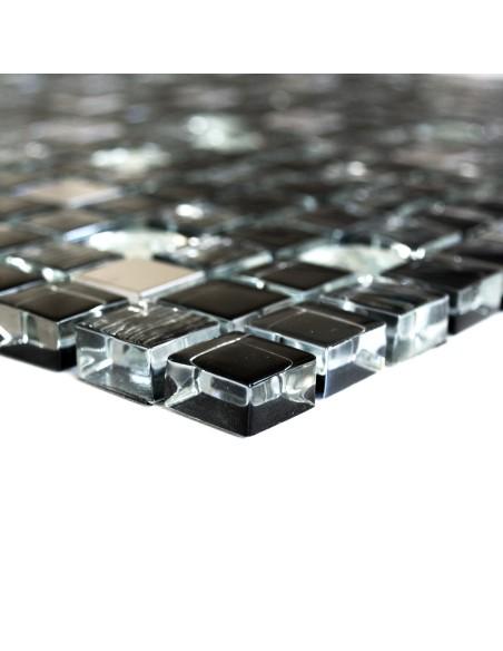 Svart Silver Kristall Rostfrittstål Diamant Mosaikmix