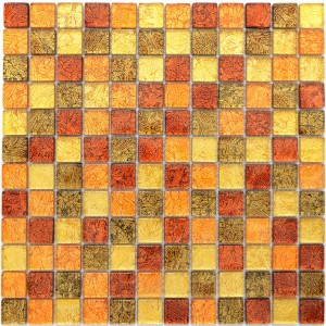 Struktur Kristallmosaik Guld Orange Mix 23x23x4mm