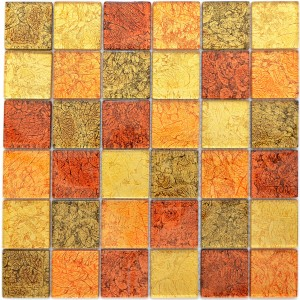 Struktur Kristallmosaik Guld Orange Mix 48x48x4mm
