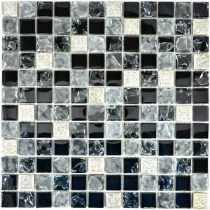 Frostad Kristall Resin Mosaik Grå Svart Silver Mix