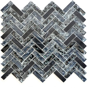 Fiskben Mosaik Natursten Kristall Svart Mix