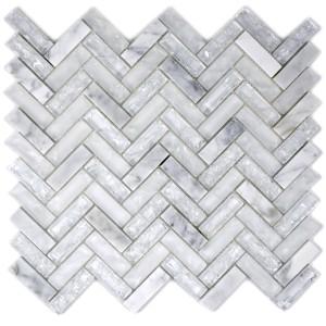 Fiskben Mosaik Natursten Kristall Vit Mix
