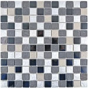 Resin Kristallmosaik Grå Svart Silver Mix