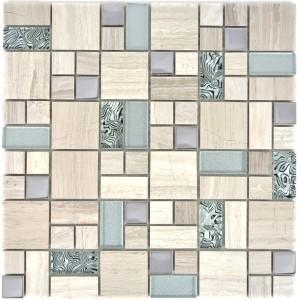 White Wood Kristall Marmor Metall Mosaik