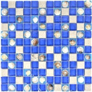 Mussla Mosaik Kristall Marmor Blå Grå Mix