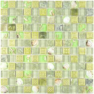 Mussla Mosaik Kristall Marmor Grön Mix