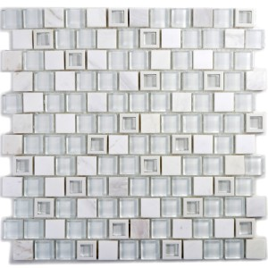 Mosaik Kristall Marmor Mix Vit