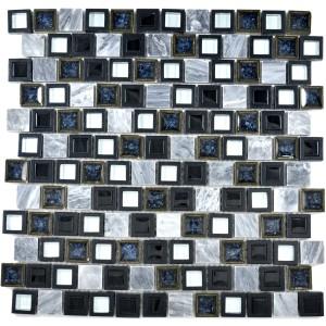 Mosaik Kristall Marmor Keramik Mix Grå Svart