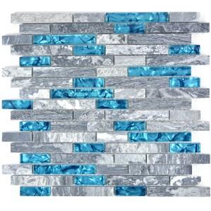 Stavmosaik Kristall Natursten Grå Blå Mix
